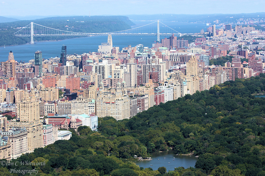 Looking  across Central Park at the George Washington Bridge from the Top of the Rock in NYC