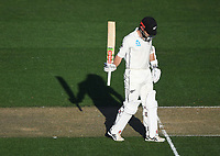 Kane Williamson 50 not out.<br /> New Zealand Blackcaps v England. 1st day/night test match. Eden Park, Auckland, New Zealand. Day 1, Thursday 22 March 2018. &copy; Copyright Photo: Andrew Cornaga / www.Photosport.nz