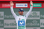Alejandro Valverde (ESP) Movistar Team retains the Combativity Jersey at the end of Stage 10 of the La Vuelta 2018, running 177km from Salamanca to Fermoselle. Bermillo de Sayago, Spain. 4th September 2018.<br /> Picture: Unipublic/Photogomezsport | Cyclefile<br /> <br /> <br /> All photos usage must carry mandatory copyright credit (&copy; Cyclefile | Unipublic/Photogomezsport)