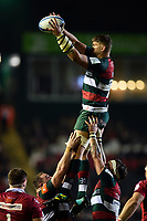 Mike Williams of Leicester Tigers wins the ball at a lineout. Heineken Champions Cup match, between Leicester Tigers and the Scarlets on October 19, 2018 at Welford Road in Leicester, England. Photo by: Patrick Khachfe / JMP