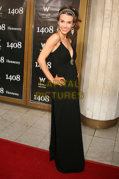 "KRISTINA ANAPAU.""1408"" World Premiere at Mann's National Theatre, Westwood, California, USA..June 12th, 2007.full length black dress hand on hip maxi headband alice band dangling earrings blue turquoise beads beaded .CAP/ADM/BP.©Byron Purvis/AdMedia/Capital Pictures"