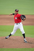Kannapolis Intimidators relief pitcher Peter Tago (45) in action against the Hickory Crawdads at CMC-Northeast Stadium on April 17, 2015 in Kannapolis, North Carolina.  The Crawdads defeated the Intimidators 9-5 in game one of a double-header.  (Brian Westerholt/Four Seam Images)