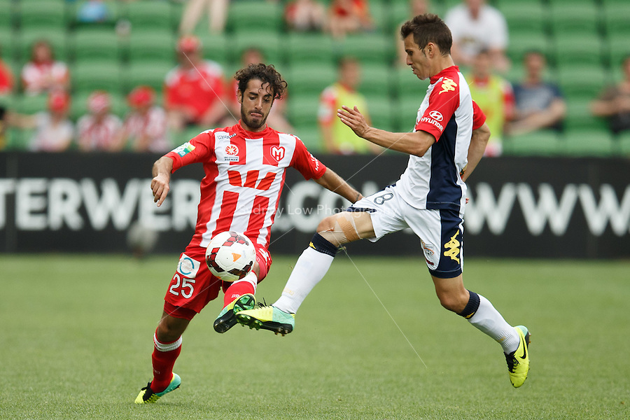 Andrea MIGLIORINI of the Heart and ISAIAS of Adelaide compete for the ball in the round eight match between Melbourne Heart and Adelaide United in the Australian Hyundai A-League 2013-24 season at AAMI Park, Melbourne, Australia. Photo Sydney Low/Zumapress<br /> <br /> This image is not for sale on this web site. Please visit zumapress.com for licensing