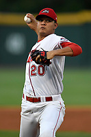 Starting pitcher Hildemaro Requena (20) of the Greenville Drive delivers a pitch against the Kannapolis Intimidators in Game 4 of the 2017 South Atlantic League Championship Series on Friday, September 15, 2017, at Fluor Field at the West End in Greenville, South Carolina. It was Greenville's first SAL Championship. Greenville won the series 3-1. (Tom Priddy/Four Seam Images)