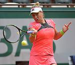 Marina Erakovic (NZL) loses to Petra Kvitova (CZE) 6-4, 3-6, 6-4 at  Roland Garros being played at Stade Roland Garros in Paris, France on May 26, 2015