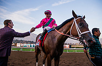 ARCADIA, CA - DECEMBER 26: Drayden Van Dyke embraces trainer Mike McCarthy after winning the Malibu Stakes with City of Light at Santa Anita Park on December 26, 2017 in Arcadia, California. (Photo by Alex Evers/Eclipse Sportswire/Getty Images)