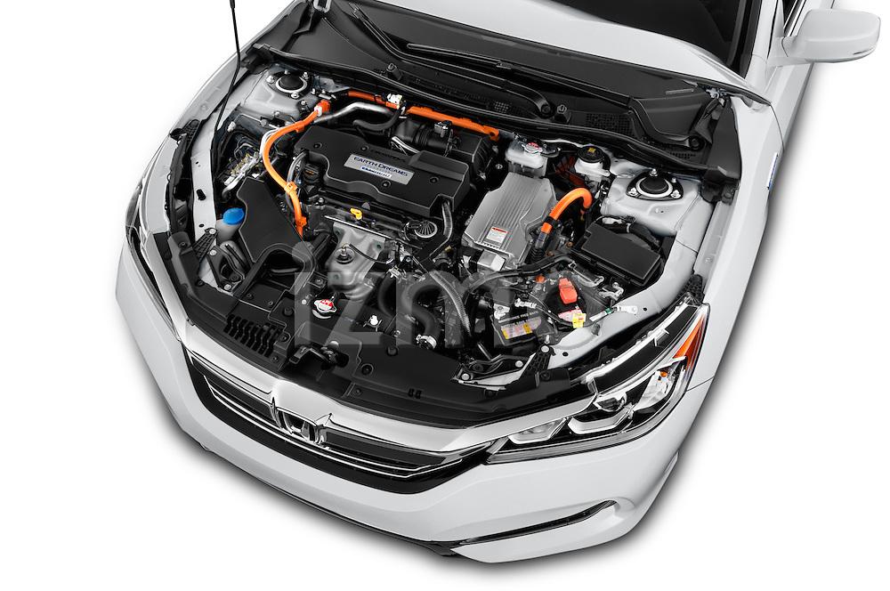 Car Stock 2017 Honda Accord Hybrid 4 Door Sedan Engine  high angle detail view