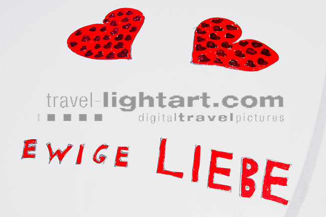Hearts on car, Buchs, Sankt Gallen, SG, Switzerland, Ewige Liebe