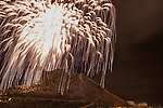 Fireworks from Santa Barbara castle at San Juan night festival , mountain Benacantil, Alicante, Costa Blanca, Spain