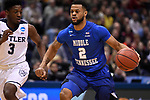 MILWAUKEE, WI - MARCH 18: Middle Tennessee Blue Raiders guard Antwain Johnson (2) dribbles past Butler Bulldogs guard Kamar Baldwin (3) during the first half of the 2017 NCAA Men's Basketball Tournament held at BMO Harris Bradley Center on March 18, 2017 in Milwaukee, Wisconsin. (Photo by Jamie Schwaberow/NCAA Photos via Getty Images)