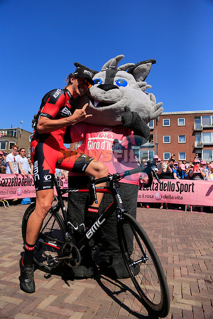 Daniel Oss (ITA) BMC Racing Team poses with Giro mascot Wolfie at sign on before the start of Stage 2 of the 2016 Giro d'Italia running 190km from Arnhem to Nijmegen, The Nethrerlands. 7th May 2016.<br /> Picture: Eoin Clarke | Newsfile<br /> <br /> <br /> All photos usage must carry mandatory copyright credit (&copy; Newsfile | Eoin Clarke)