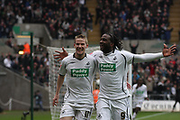 Pictured: Jason Scotland (right) celebrates his goal with team mate Mark Gower (left)<br /> Picture by D Legakis Photography / Athena Picture Agency, Swansea, 07815441513