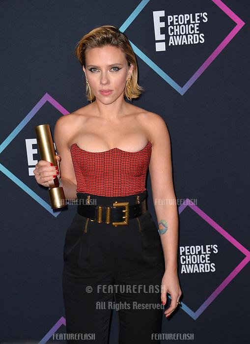 LOS ANGELES, CA. November 11, 2018: Scarlett Johansson at the E! People's Choice Awards 2018 at Barker Hangar, Santa Monica Airport.<br /> Picture: Paul Smith/Featureflash