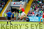Barry Mahony Kerry in action against Gerry Garland Louth in the All Ireland Minor Football Quarter Finals at O'Moore Park, Portlaoise on Saturday.