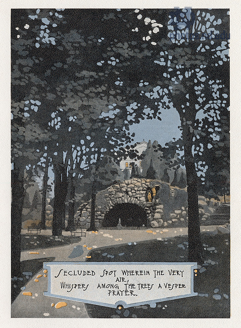 "Dome yearbook 1916, page 15:  Drawing of the Grotto.  Caption:  ""Secluded spot wherein the very air, whispers among the trees a vesper prayer.""  Drawing by Joseph Patrick Flynn.  Poem by Rev. Thomas E. Burke, CSC.  Image from the University of Notre Dame Archives."
