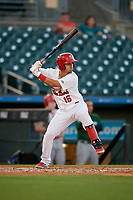 Palm Beach Cardinals third baseman Yariel Gonzalez (16) during a Florida State League game against the Daytona Tortugas on April 11, 2019 at Roger Dean Stadium in Jupiter, Florida.  Palm Beach defeated Daytona 6-0.  (Mike Janes/Four Seam Images)