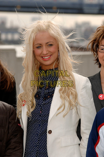 "CHANTELLE HOUGHTON.launch of ""Bullywatch"" charity at City Hall.London, England  22nd March 2006.Ref: PL.winner of Celebrity Big Brother half length white jacket blue polka dot.www.capitalpictures.com.sales@capitalpictures.com.©Capital Pictures"