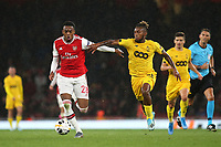 Joe Willock of Arsenal tries to shake off a challenge from Samuel Bastien of Standard Liege during Arsenal vs Standard Liege, UEFA Europa League Football at the Emirates Stadium on 3rd October 2019