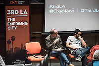 """Christopher Hawthorne's students host as Third Los Angeles continues with """"Homelessness and the Right to the City"""" featuring: Professor Peter Dreier; Alisa Orduna, Director of Homelessness Policy for L.A. Mayor Eric Garcetti; José Ramirez, Executive Director of St. Francis Center in Downtown L.A.; Peter Jamison, reporter for the LA Times; Elvis Summers of Tiny House Huge Purpose; Charles Porter, advocate for people in the Skid Row area, United Coalition East Prevention Project (UCEPP); and Eric Ares, Community Organizer and Communications Coordinator for Los Angeles Community Action Network (LA CAN). April 6, 2016 in Choi Auditorium.<br /> (Photo by Marc Campos, Occidental College Photographer)"""