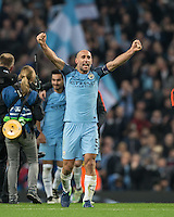 Pablo Zabaleta of Manchester City celebrates victory during the UEFA Champions League match between Manchester City and Barcelona at the Etihad Stadium, Manchester, England on 1 November 2016. Photo by Andy Rowland / PRiME Media Images.