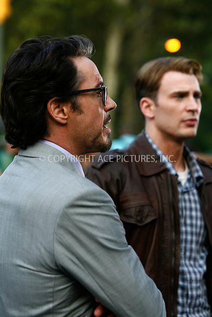 WWW.ACEPIXS.COM . . . . .  ....September 2 2011, New York City....Actors Robert Downey Jr and Chris Evans on the Central Park set of the new Movie 'The Avengers' on September 2 2011 in New York City....Please byline: CURTIS MEANS - ACE PICTURES.... *** ***..Ace Pictures, Inc:  ..Philip Vaughan (212) 243-8787 or (646) 679 0430..e-mail: info@acepixs.com..web: http://www.acepixs.com