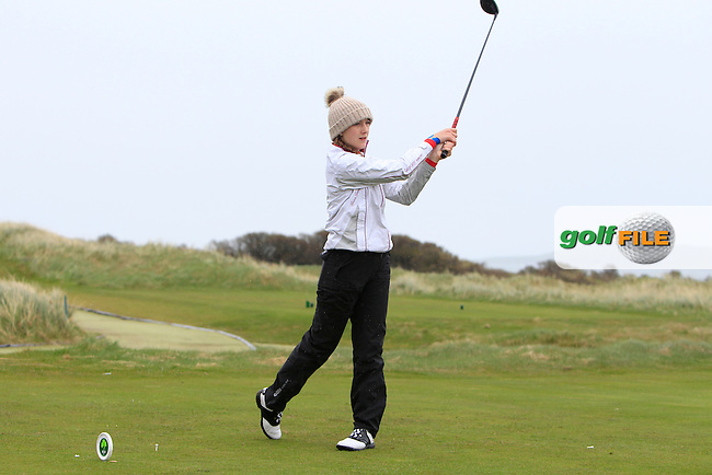 Hannah-Leonie Karg (GER) on the 2nd tee during Round 1 of the Irish Women's Open Stroke Play Championship at The Island Golf Club on Friday 8th April 2016.<br /> Picture:  Golffile / Thos Caffrey