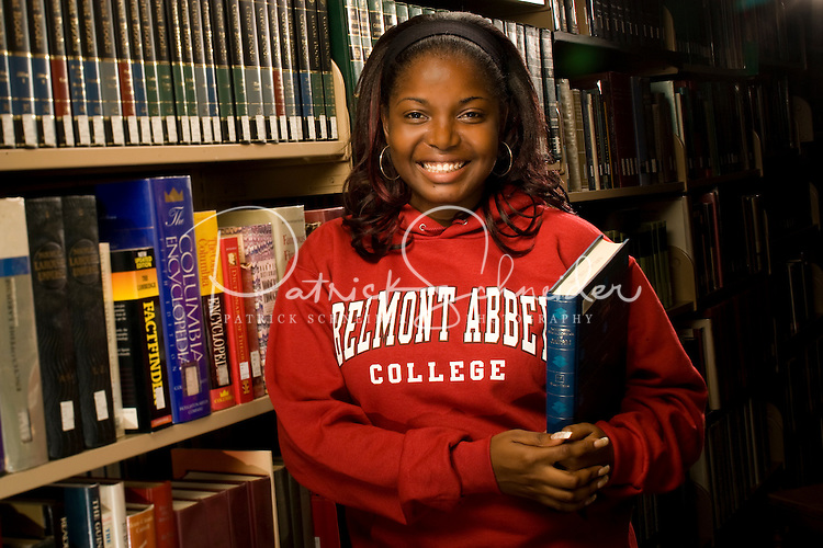 A college student in the library in Belmont, NC.