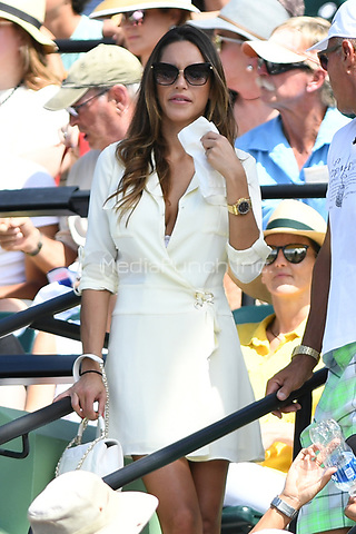 KEY BISCAYNE, FL - MARCH 27 : Girlfriend of Juan Martin Del Potro Julia Rohden is sighted watching Roger Federer Vs Juan Martin Del Potro during the Miami Open at Crandon Park Tennis Center on March 27, 2017 in Key Biscayne, Florida. Credit: mpi04/MediaPunch