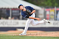 Asheville Tourists starting pitcher Riley Pint (32) delivers a pitch during a game against the West Virginia Power at McCormick Field on May 11, 2017 in Asheville, North Carolina. The Power defeated the Tourists 2-1. (Tony Farlow/Four Seam Images)