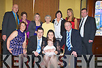 BABY: Chloe O'Brien, Caherina Village, Tralee who was christened in St Brendan Church, Tralee on Sunday with her parents in The Grand Hotel, Tralee after the christening  her family and friends. Seated l-r: Helen Slattery, Mike O'Brien,. Chloe O'Brien (baby), Edwina Ryan and Mike Slattery. Back l-r: Mike O'Brien, Margaret Ryan, Ciara Ryan, Margaret Ryan, Anne O'Brien, Karen O'Brien and Dermot Ryan.................................. ....