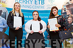 Anetta Potocka, Amanda Jane O'Connor and Shazia Raja receiving their Certificates at the ETB Awards in the Rose Hotel on Thursday evening.