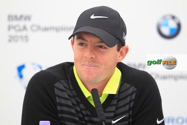 Rory MCILROY (NIR) speaking ahead of the 2015 BMW PGA Championship. Wentworth Golf Club, Virginia Water, Surrey, UK. 20/05/2015.<br />  Picture Fran Caffrey, www.golffile.ie