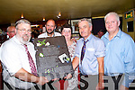 Seamus Brogan, Essex, Receiving a special presentation from West Limerick Singing Club, Pictured L-R; Seamus Brogan, Bernard O'Sullivan, Comhaltas, Marion Brogan, Essex, Owen McMahon and Philip Enright, West Limerick Singing Club.