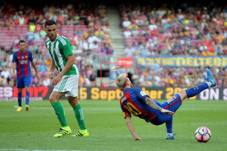 League Santander 2016/2017. Game: 1.<br /> FC Barcelona vs Real Betis: 6-2.<br /> Bruno vs Lionel Messi.
