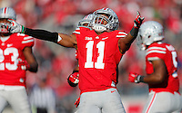 Ohio State Buckeyes defensive back Vonn Bell (11) reacts after a big tackle in the fourth quarter of the college football game between the Ohio State Buckeyes and the Indiana Hoosiers at Ohio Stadium in Columbus, Saturday afternoon, November 22, 2014. The Ohio State Buckeyes defeated the Indiana Hoosiers 42 - 27. (The Columbus Dispatch / Eamon Queeney)