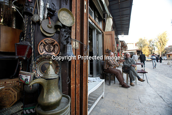 Handicrafts are displayed at shops in al-Hatab square, the first public space developed by a German group in the Christian quarter of Aleppo, Syria on November 07, 2010. (Salah Malkawi for The New York Times)