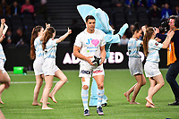 Dan Carter warms up (with the pre-match entertainment going on behind him) before the French Top 14 match between Racing 92 and La Rochelle at U Arena on February 18, 2018 in Nanterre, France. (Photo by Dave Winter/Icon Sport)