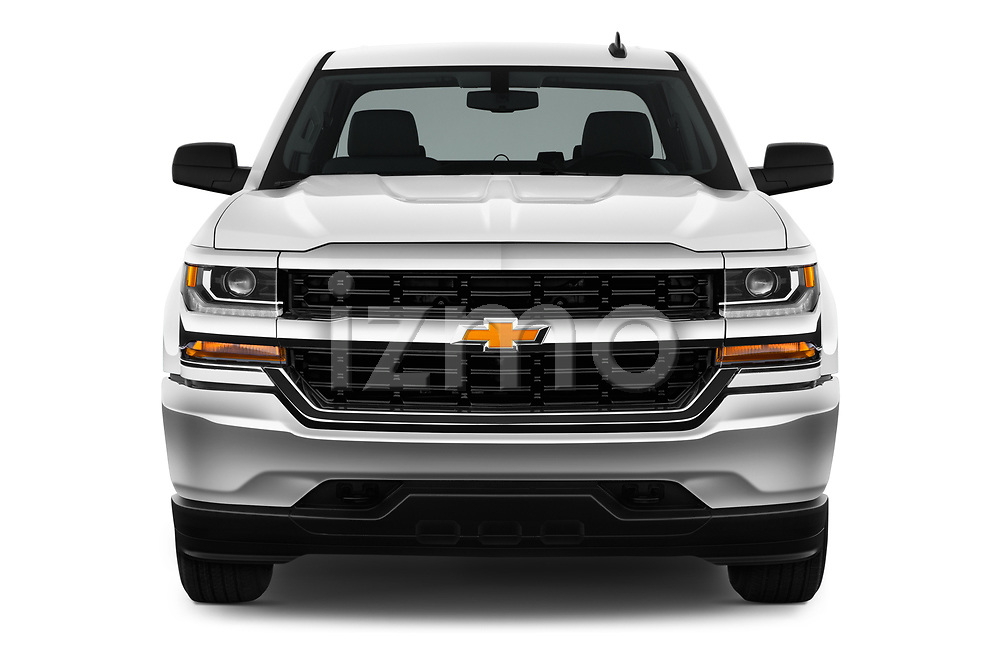 Car photography straight front view of a 2018 Chevrolet Silverado-1500 1LS-Crew-Cab-Short-Box 4 Door Pickup Front View