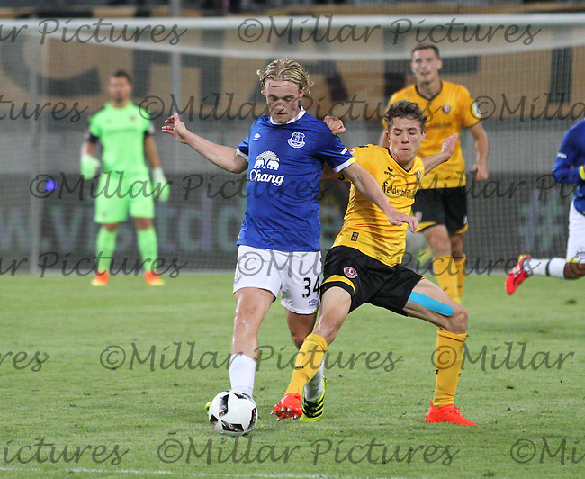 Pascal Testroet tackling Tom Davies in the Dynamo Dresden v Everton match in the Bundeswehr Karriere Cup Dresden 2016 played at the DDV Stadion, Dresden on 29.7.16.