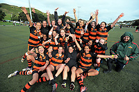 The Wairarapa team after the 2017 Hurricanes Secondary Schools Under-15 Girls' Rugby Tournament match between Wairarapa Barbarians and Bishop Viard College at Wakefield Park in Wellington, New Zealand on Tuesday, 5 September 2017. Photo: Dave Lintott / lintottphoto.co.nz