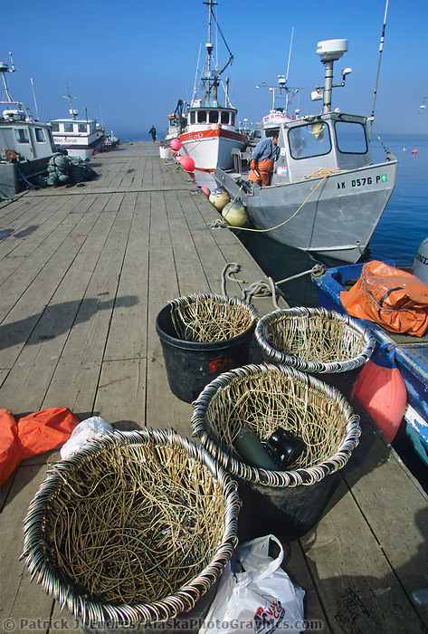 Long line hooks and totes, Halibut fishing boats, harbor, St. Paul Island, Pribilof Islands, Alaska