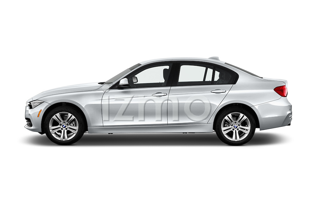 Car Driver side profile view of a 2017 BMW 3-Series 330i 4 Door Sedan Side View