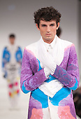 Collection by Andrew Graham of Kingston University. Graduate Fashion Week 2012 at London's Earl's Court.