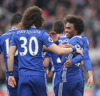 Chelsea's Willian celebrates scoring his sides first goal  with David Luiz<br /> <br /> Photographer Mick Walker/CameraSport<br /> <br /> The Premier League - Stoke City v Chelsea - Saturday 18th March 2017 - bet365 Stadium - Stoke<br /> <br /> World Copyright &copy; 2017 CameraSport. All rights reserved. 43 Linden Ave. Countesthorpe. Leicester. England. LE8 5PG - Tel: +44 (0) 116 277 4147 - admin@camerasport.com - www.camerasport.com
