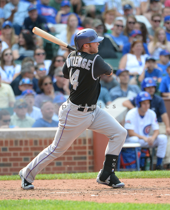 Colorado Rockies Josh Rutledge (14) during a game against the Chicago Cubs on July 29, 2014 at Wrigley Field in Chicago, IL. The Cubs beat the Rockies 4-3.