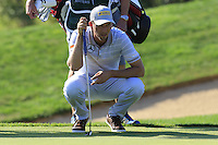 Marcel Siem (GER) on the 13th green during Thursday's Round 1 of the 2016 Portugal Masters held at the Oceanico Victoria Golf Course, Vilamoura, Algarve, Portugal. 19th October 2016.<br /> Picture: Eoin Clarke | Golffile<br /> <br /> <br /> All photos usage must carry mandatory copyright credit (&copy; Golffile | Eoin Clarke)