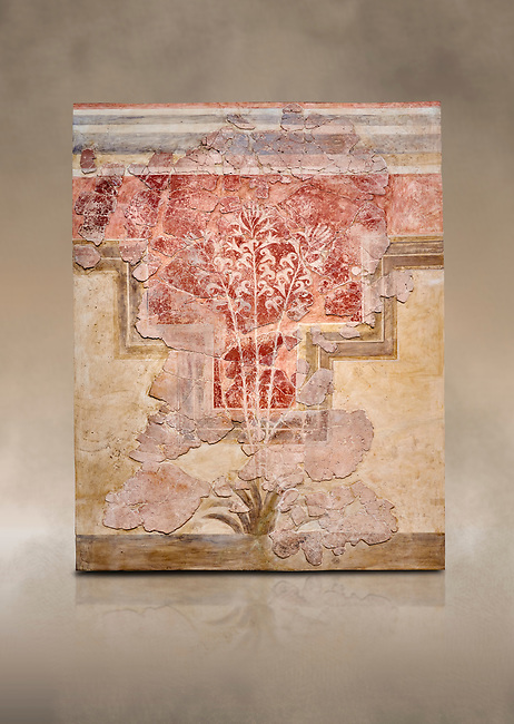 Minoan fresco panel from the 'Lily Frescoes' from the 'Villa of the Lilies' Amnisos, 1600-1500 BC. Heraklion Archaeological Museum.<br /> <br /> Ths freco depicts white lilies against a red background and red lilies against w white backgoround with long stems in front of a fence. The wall art uses fresco and 'in cavo' technique. Neopalatial Period.