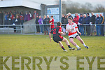 Kevin O'Sullivan (St Pats, Blennerville) in action with Darra Crowley (kenmare Shamrocks) in the Credit Union Senior Football League  2013 Div.2 Ropund.2 at St Pats GAA Grounds, Blennerville on Saturday.