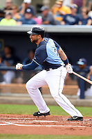 Tampa Bay Rays first baseman James Loney (21) during a spring training game against the Boston Red Sox on March 25, 2014 at Charlotte Sports Park in Port Charlotte, Florida.  (Mike Janes/Four Seam Images)