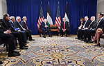 Palestinian President Mahmoud Abbas meets with US President Donald Trump in New York City, U.S. on September 19, 2017. Photo by Thaer Ghanaim
